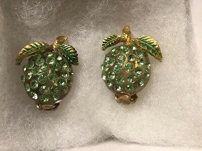 Forbidden Fruit Lime Earrings Clear Lucite Green Rhinestones