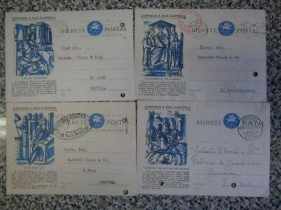 """Lot of 7 Portugal 50's Stationery Postal cards """"História"""" (see all pictures)"""