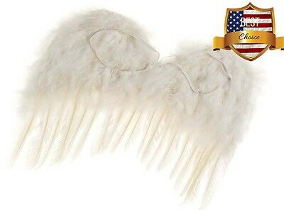 "US Toy Feather Angel Wings Costume out fit Child Kids Boys Girls White 15"" NEW"