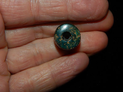 Pre-Columbian Blue Green Jade Bead,Chunky Pendant Bead Authentic, Costa Rica