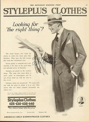 1919 STYLEPLUS CLOTHES Vintage Men's Fashions-Sonneborn Baltimore MD Ad