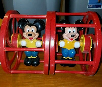 Lot of 2 Vintage Mickey Mouse Rolling Cage Preschool Toy, 1950-60s