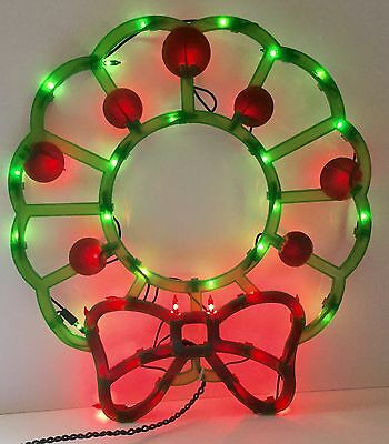CHRISTMAS WREATH SILHOUETTE Lighted Window Decoration Indoor / Outdoor Use NEW