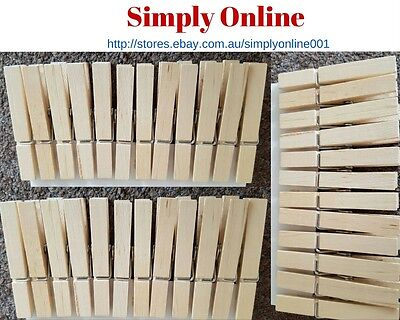 36 x Wooden Pegs Rust Resistant Fit Any Clothes Washing Line Wood Peg - Premium