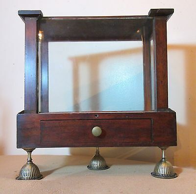 antique 1800's handmade footed wood science medical display case stand cabinet