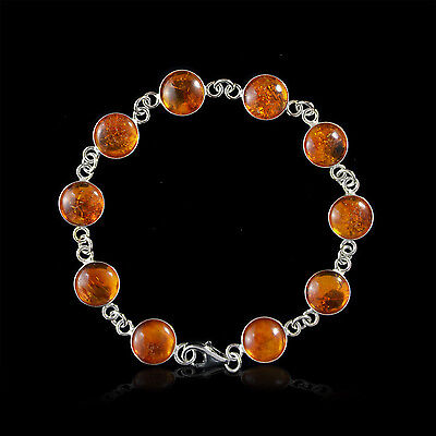 7.5 Inches Classic Honey Genuine Baltic Amber in 925 Sterling Silver Bracelet
