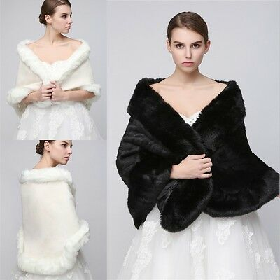 Black White Faux Fur Wraps Bridal Wedding Party Shawl Stole Shrug Scarf Cape