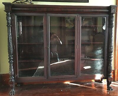 Rare Antique 2Nd Second Empire Carved Book Case Shelf Flame Mahogany Victorian