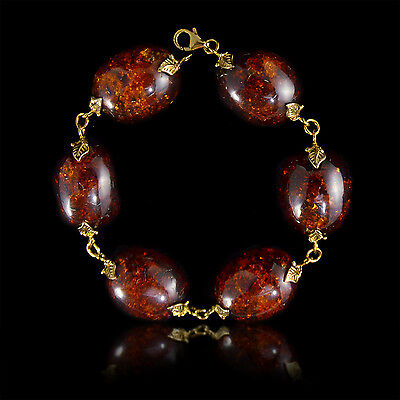 24G Large Oval Baltic Amber Bead in 14k Gold Plated 925 Sterling Silver Bracelet
