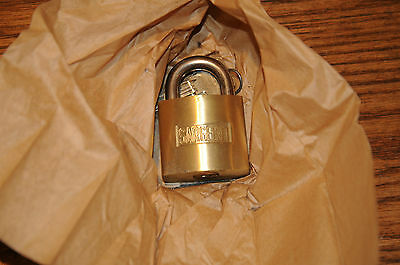 New Old Stock Heavy Duty Pad Lock  w/ 2 Blank keys Hardened Steel Shackle Brass.