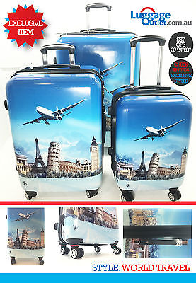 PolyCarbonate Set of 3 Travel Luggage 4wheels Exclusive Printed Style Collection