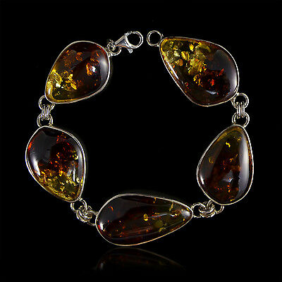 7 7/8 Inches Two Tone Large Genuine Baltic Amber in 925 Sterling Silver Bracelet