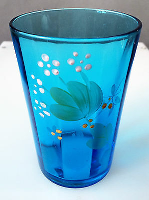 Victorian Antique EAPG  Blue Enameled 10 Panel Tumbler Circa 1880's