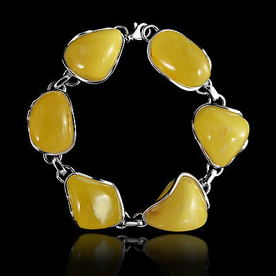 36 Grams Natural Shapes Genuine Baltic Amber in 925 Sterling Silver Bracelet