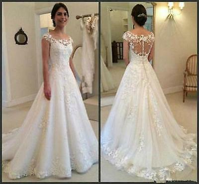 Strapless Button Zip White/Ivory Lace Wedding Dress Bridal Gown Custom All Size