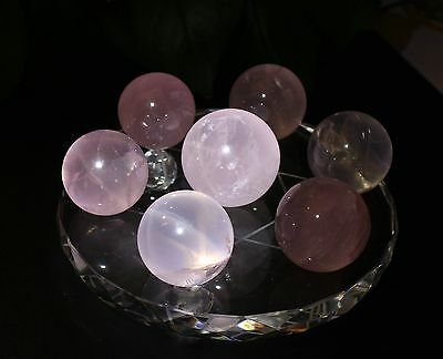 36-42mm  Seven Star Array Natural STAR Rose Quartz Crystal Ball with Plate