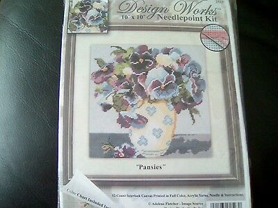 DESIGN WORKS   Pansies Needlepoint Kit  10x10new sealed pack complete Christmas
