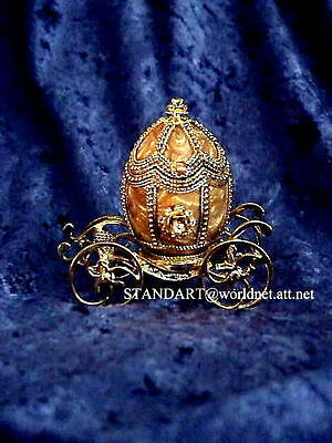 Russian Imperial Romanov Princess  Coach Egg & gold Faberge Pendant necklace
