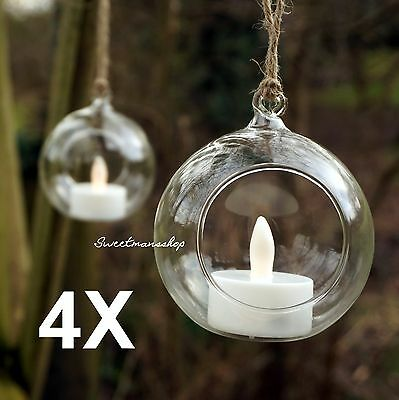 4 X CLEAR HANGING GLASS BAUBLES BALL CANDLE TEALIGHT HOLDER WEDDING DECOR 10cm