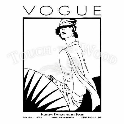 "Vintage Vogue Print 1920 Fashion Old  Lady Model Art Deco Poster 24"" Painting"