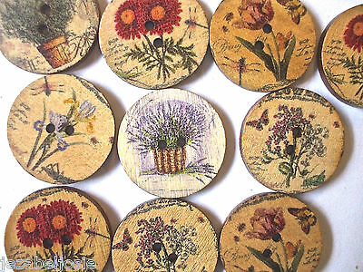 25mm wood Assorted Flower Buttons 10, 20. or 50  embellishment
