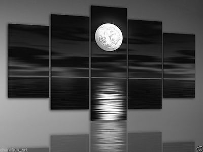 5pc Modern abstract large hand Black and white Sunrise oil painting on canvas