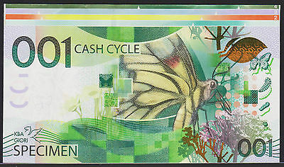 "Test Note KBA GIORI Switzerland - ""Cash Cycle 001"" - w. upper border piece"