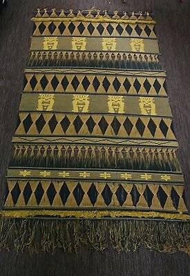 South American Wall Hanging Vintage Woven Fiber Art Large 37X75 Black Gold