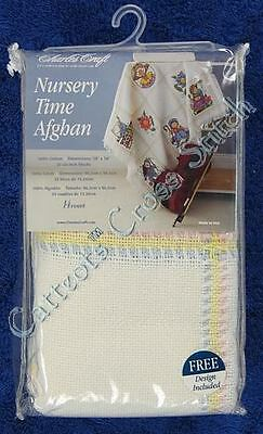 Cross Stitch Baby Afghan Nursery Time Rainbow Cloth Cotton 14 Count