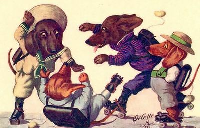 NEW! Dachshund Dogs Roller Skating Magnet from Vintage Art DELIGHTFUL & Useful!