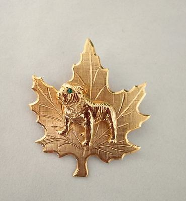 Unusual Gleaming Eng. or Am. Bulldog on Leaf Pin Detailed Dog Graceful Lines