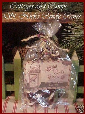 Lot of Chenille & Rope Candy canes in Primitive St. Nick Label Bag Xmas Foliage