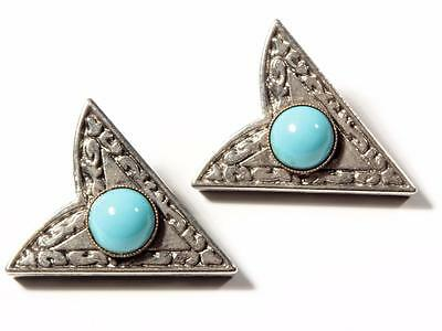 (2) vintage Czech German silver tone large blue glass cabochon shirt collar tips