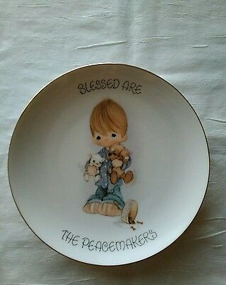 """Precious Moments Plate """"BLESSED ARE THE PEACEMAKERS"""" Great color No box"""