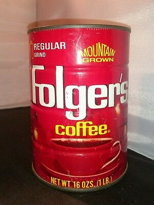 VINTAGE FOLGER'S Coffee Can 1lb coffee tin AUTOMATIC DRIP Mtn Grown