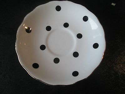 ROYAL VALE 1950's BONE CHINA BLACK POLKA DOT SPOTTY SAUCER