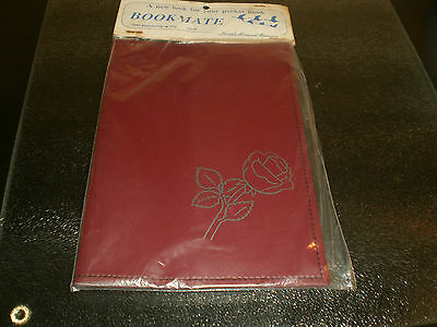 Faux Leather Book Cover -  Flower  Design - Burgandy