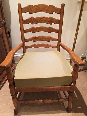 Golden Oak Ladderback Armchair with new Foam Cushion Ready for Upholstering