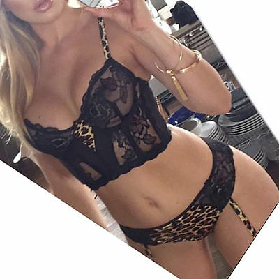 2016 Leopard Black Lace Sexy Lingerie Babydoll Underwear Dress Top Thong 10-12