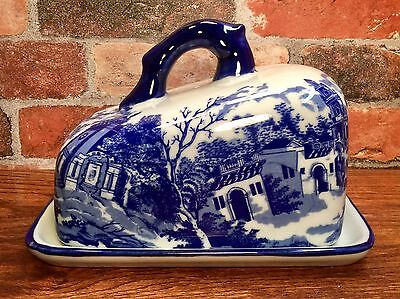 Ironstone Blue Willow Vintage Porcelain Covered Cheese Plate