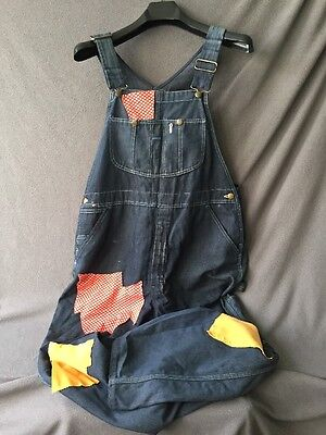 MENS VINTAGE OVERALLS Size Medium Coveralls Denim Sears Brand Patches Hobo Hippy
