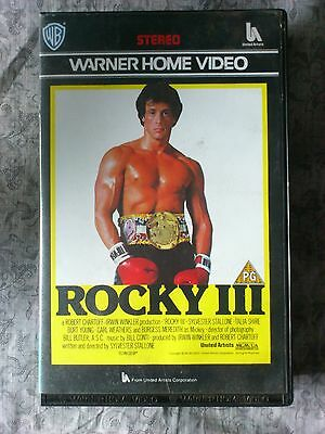 Rocky Iii - Warner Home Video - Large Case Vhs Cert Pg - Boxing Classic!