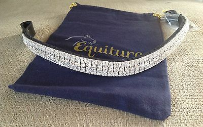 Equiture curved megabling browband - all clear on black leather XF