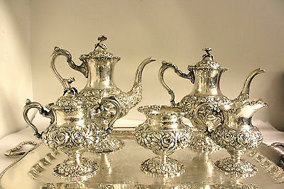 """Stieff Repousse Hand Chased Sterling  """"rose"""" Tea & Coffee Set 5 Pcs."""