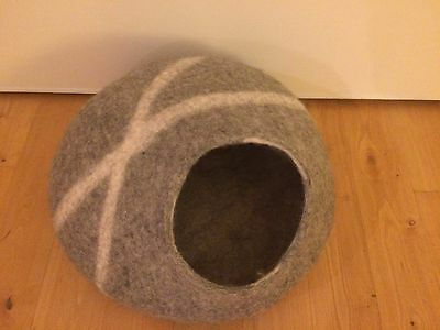 Panier à chat nid gris effet galet neuf niche coussin igloo cat pet bed house