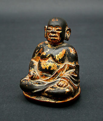Rare Antique Vietnam Carved Wood Lacquer Gilt Lohan Buddha Indochine