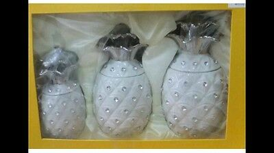 NEW White PINEAPPLE JARS TEA COFFEE SUGAR CANISTER 3PC STORAGE POT