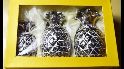 NEW Silver PINEAPPLE JAR TEA COFFEE SUGAR CANISTER 3PC STORAGE POT