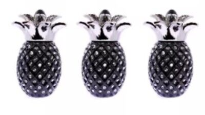 NEW  Black PINEAPPLE JAR TEA COFFEE SUGAR CANISTER 3PC STORAGE POT
