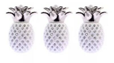 NEW  White PINEAPPLE JAR TEA COFFEE SUGAR CANISTER 3PC STORAGE POT
